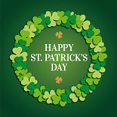 St. Patrick Day Greeting Card with clover wreath. Vector image - Illustration