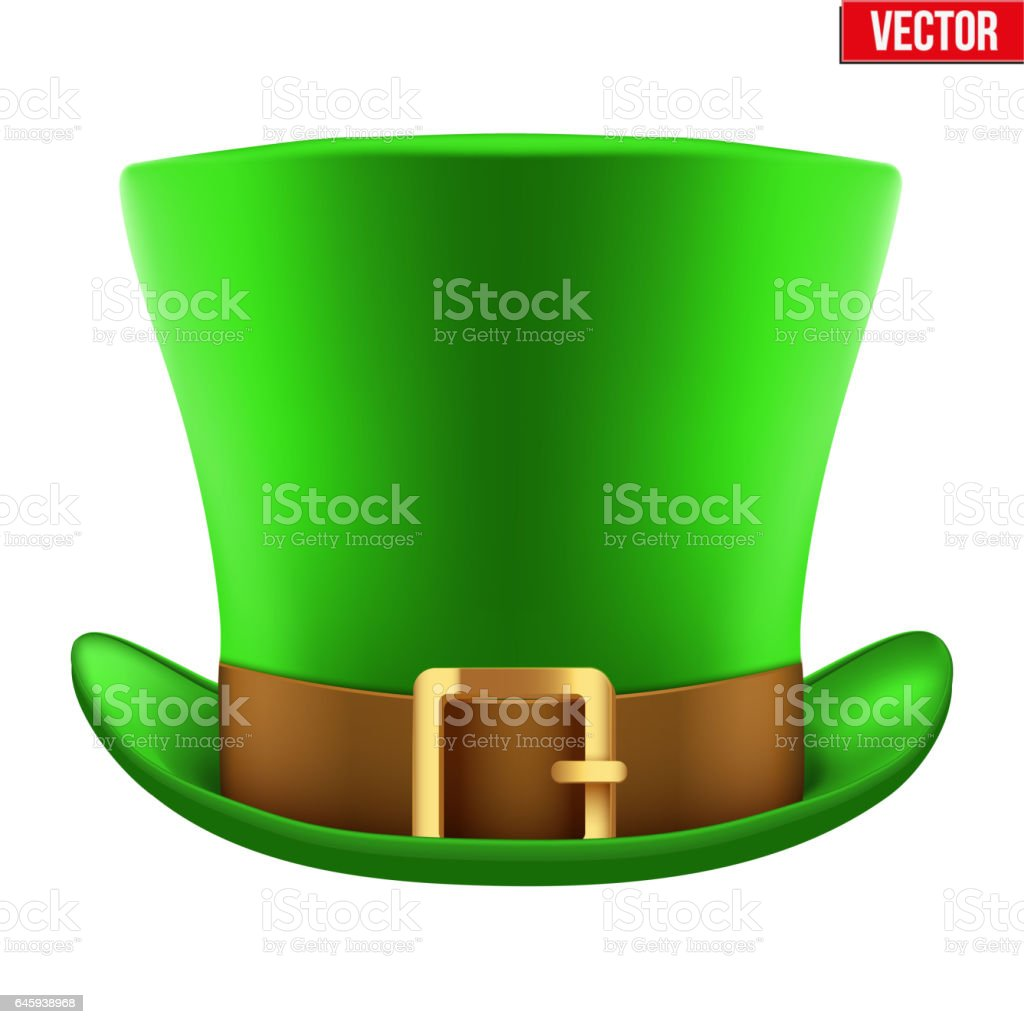 St Patrick hat isolated on white background vector art illustration