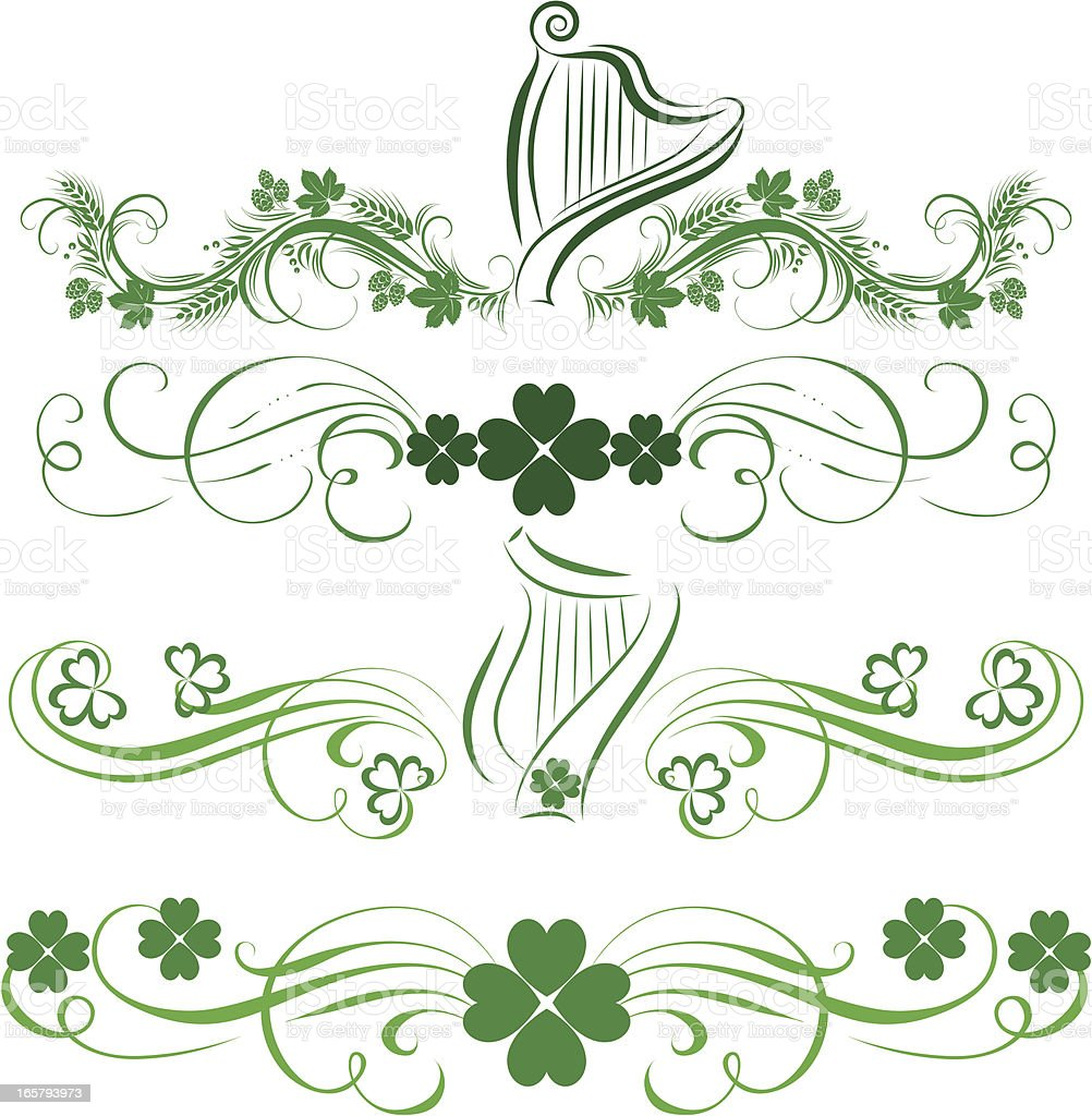 St Patrick holiday elements vector art illustration