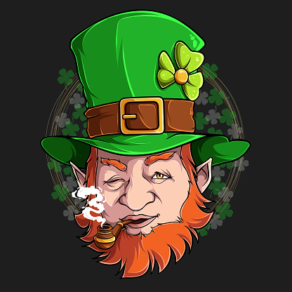 St Patrick Leprechaun face smoking pipe illustration in high quality and shadows, for St Patrick day designs