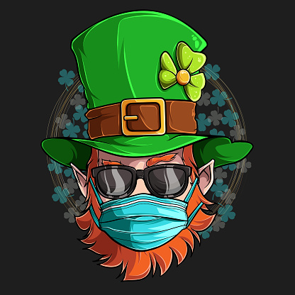 St Patrick Leprechaun face with sunglasses and medical mask, illustration in high quality and shadows, for St Patrick day designs