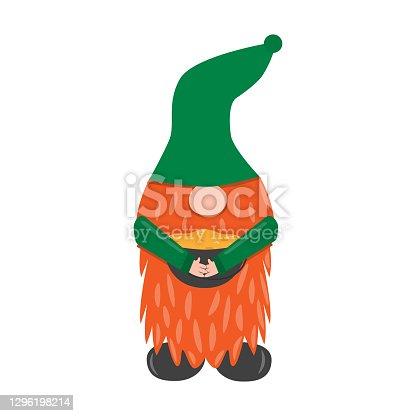 istock St. Patrick s Day leprechaun. Cute funny garden gnome holding ot with gold. Cartoon vector illustration for pub invitation, t-shirt design, cards or decor 1296198214