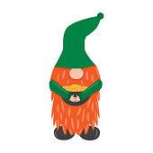 St. Patrick s Day leprechaun. Cute funny garden gnome holding ot with gold. Cartoon vector illustration for pub invitation, t-shirt design, cards or decor