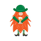 St. Patrick s Day leprechaun. Cute funny garden gnome whith beer. Cartoon vector illustration for pub invitation, t-shirt design, cards or decor