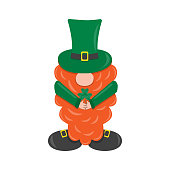 St. Patrick s Day leprechaun. Cute funny garden gnome whith clover. Shamrock for luck. Cartoon vector illustration for pub invitation, t-shirt design, cards or decor