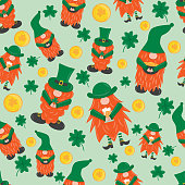 St. Patrick s Day leprechaun. Seamless pattern with 3 cute funny garden irish gnome with clover, beer and pot with gold. Shamrock for luck. Cartoon illustration for pub invitation, t-shirt design, cards or decor