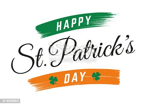 St. Patrick s Day lettering greeting card. Calligraphic inscription with ornaments of clover.