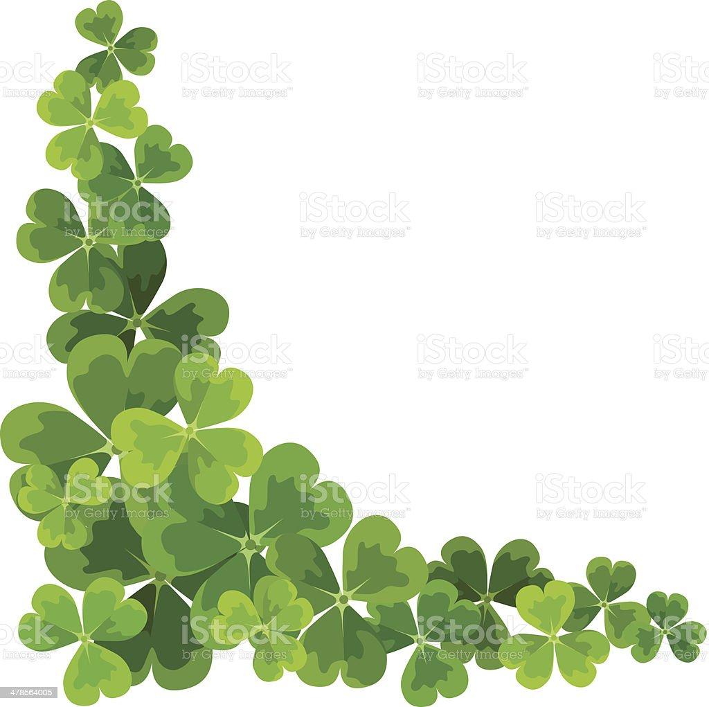 St. Patrick's corner border with shamrock. Vector illustration. vector art illustration