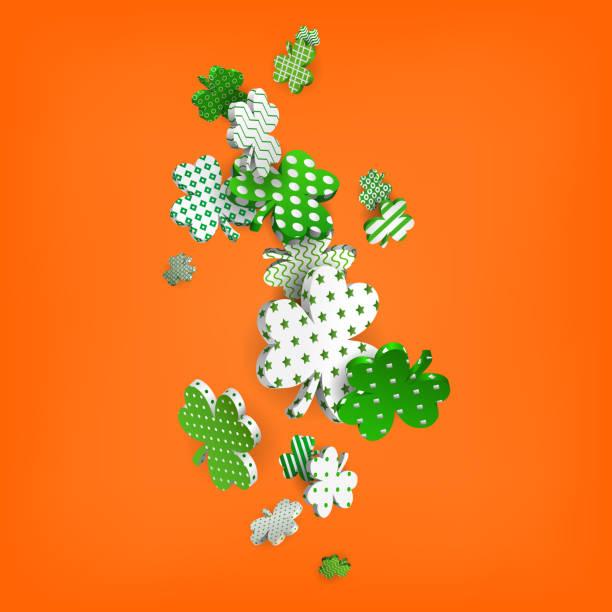 St. Patricks Day, verlässt 3d Klee mit geometrischen Mustern, Vektor-illustration – Vektorgrafik