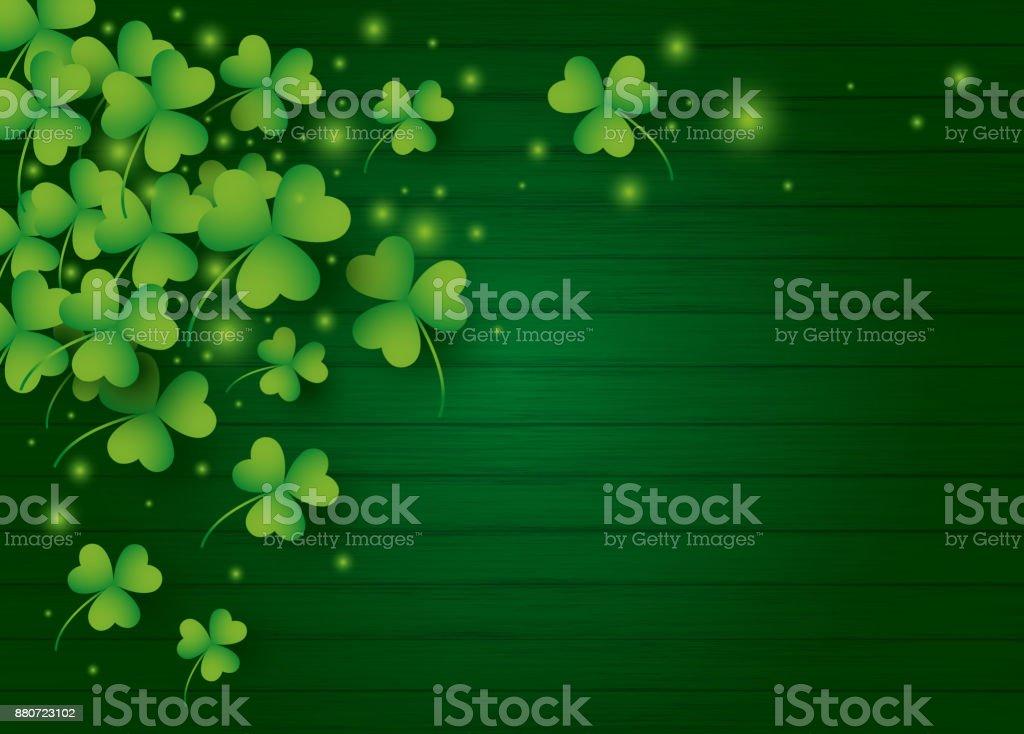 St Patricks day background design of clover leaves with copy space vector illustration vector art illustration