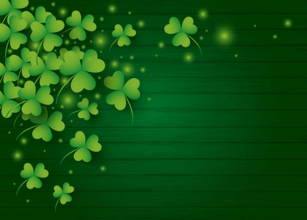 St Patricks day background design of clover leaves with copy space vector illustration vector art illustration