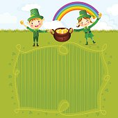 Boy and girl leprechauns carrying a pot of gold.