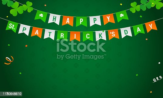 istock St. Patrick's Day background Vector illustration. Flag garland with confetti on green shamrock pattern background. 1130648610