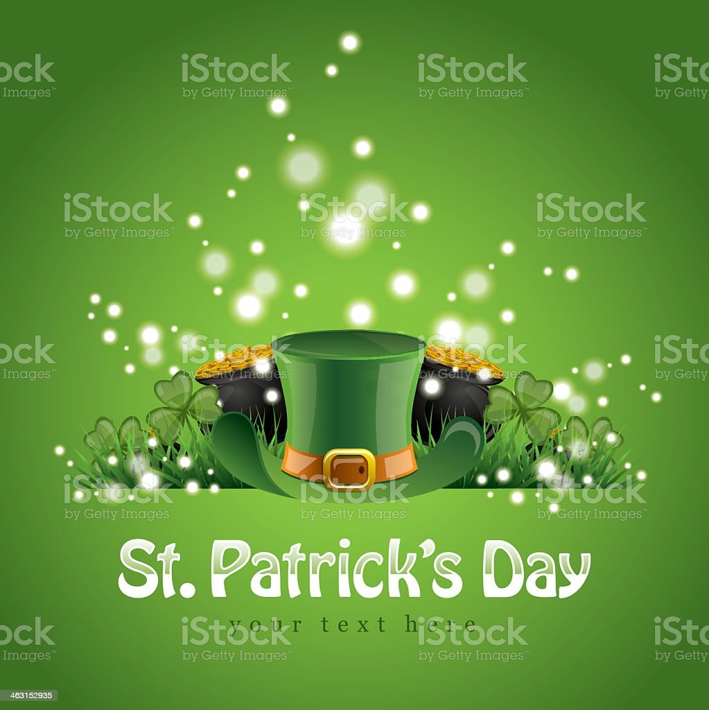 st patricks day background with a leprechaun hat and gold stock