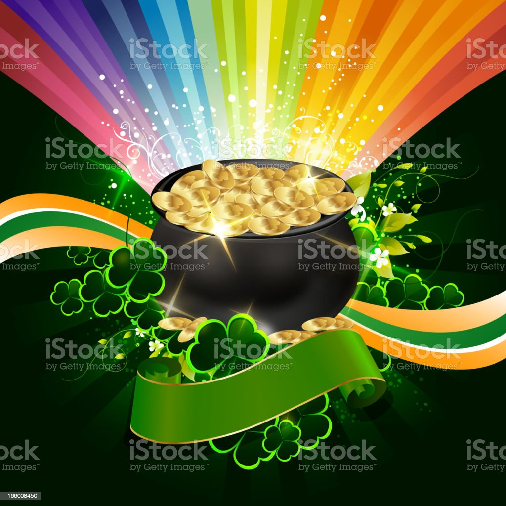 St Patrick's Day Background with Pot of Gold Coins royalty-free stock vector art