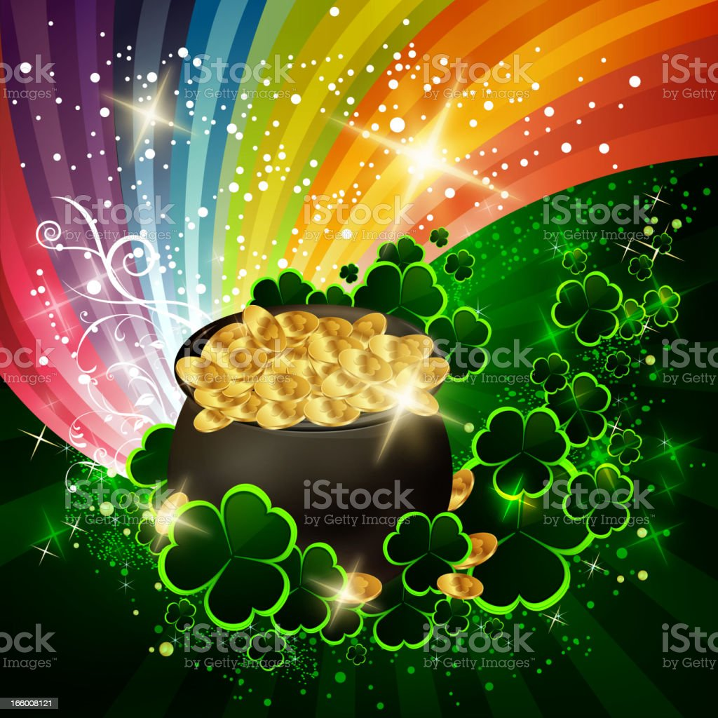 st patricks day background with pot of gold stock vector art