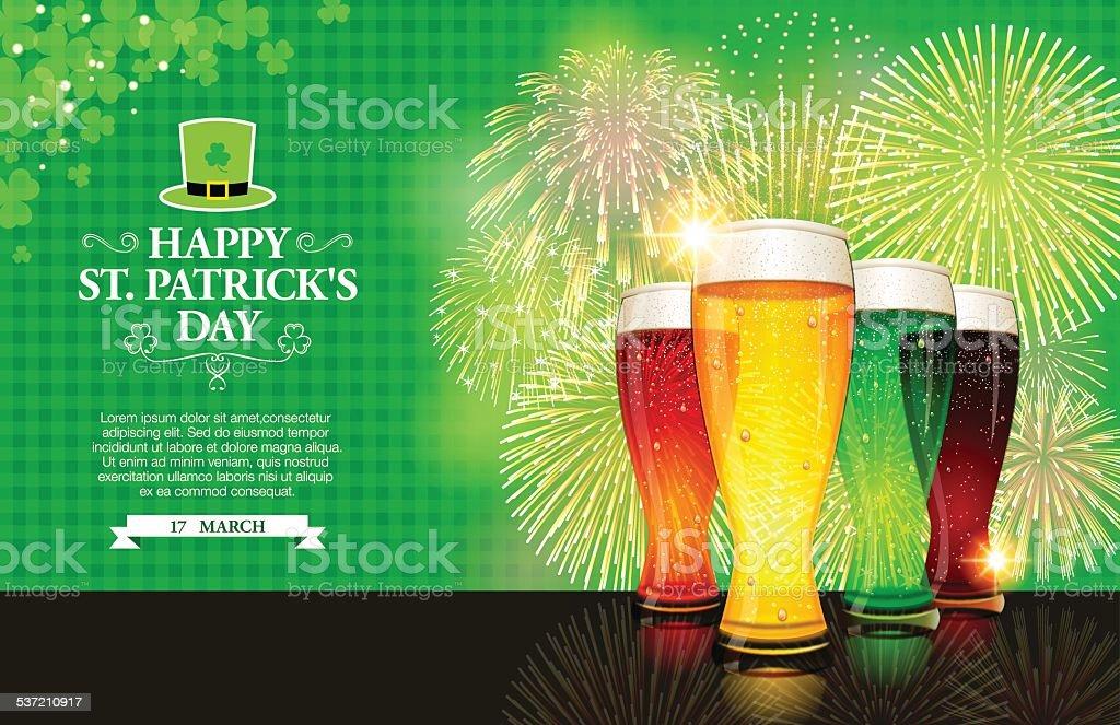 St. Patrick's Day background[Beer and Fireworks] vector art illustration