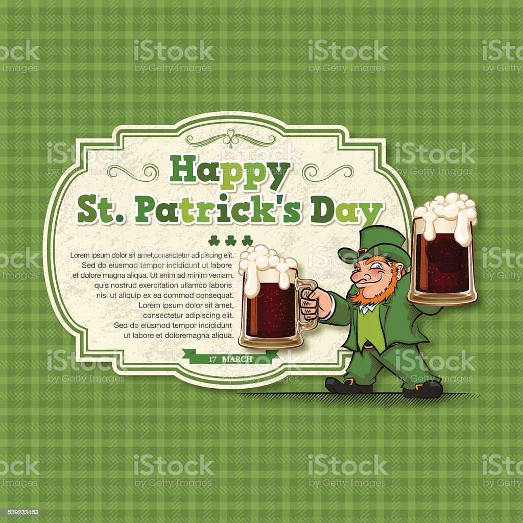 St. Patrick's Day background [ Leprechaun y cerveza ] ilustración de st patricks day background leprechaun y cerveza y más banco de imágenes de 2015 libre de derechos