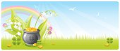 Nice treasure and clover background with copyspace. Zip contains CDR-11, AI CS.