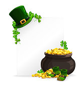 St. Patricks Day white sheet banner, pot of golden coins, leprechaun hat, shoes and green shamrock clover. Saint Patricks festival cartoon vector greeting card, 17 March Irish holiday party invitation