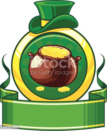 St. Patrick`s day banner with pot of gold. Pot, heat, shield and banner on different layers. CorelDRAW 10 file attached.