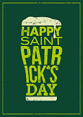 St. Patrick's Day - Beer glass concept slogan background - Illustration