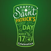 St. Patrick's Day text typography forming a beer glass shape