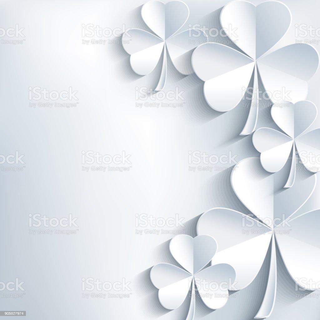 Cinza de cartão de dia de São Patrício com trevo - ilustração de arte em vetor
