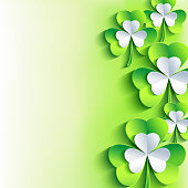 Beautiful abstract St. Patrick's day card with gray and green 3d leaf clover. Trendy stylish spring background. Bright St. Patrick day wallpaper. Vector illustration
