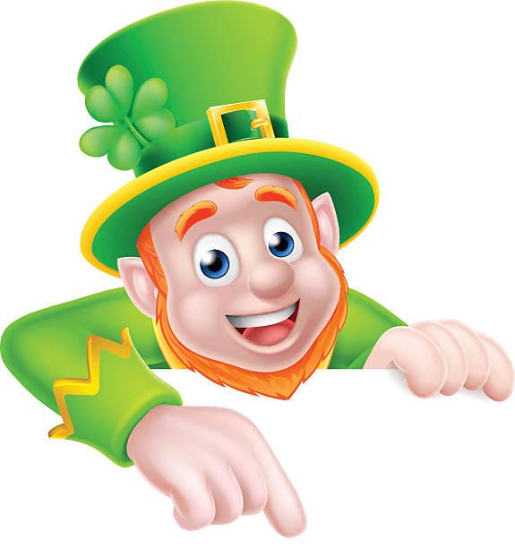St Patricks Tag Cartoon Leprechaun zeigt – Vektorgrafik