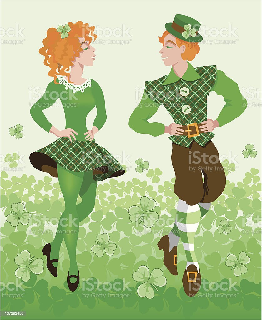 St Patrick's day cartoon of people dancing to celebrate  vector art illustration