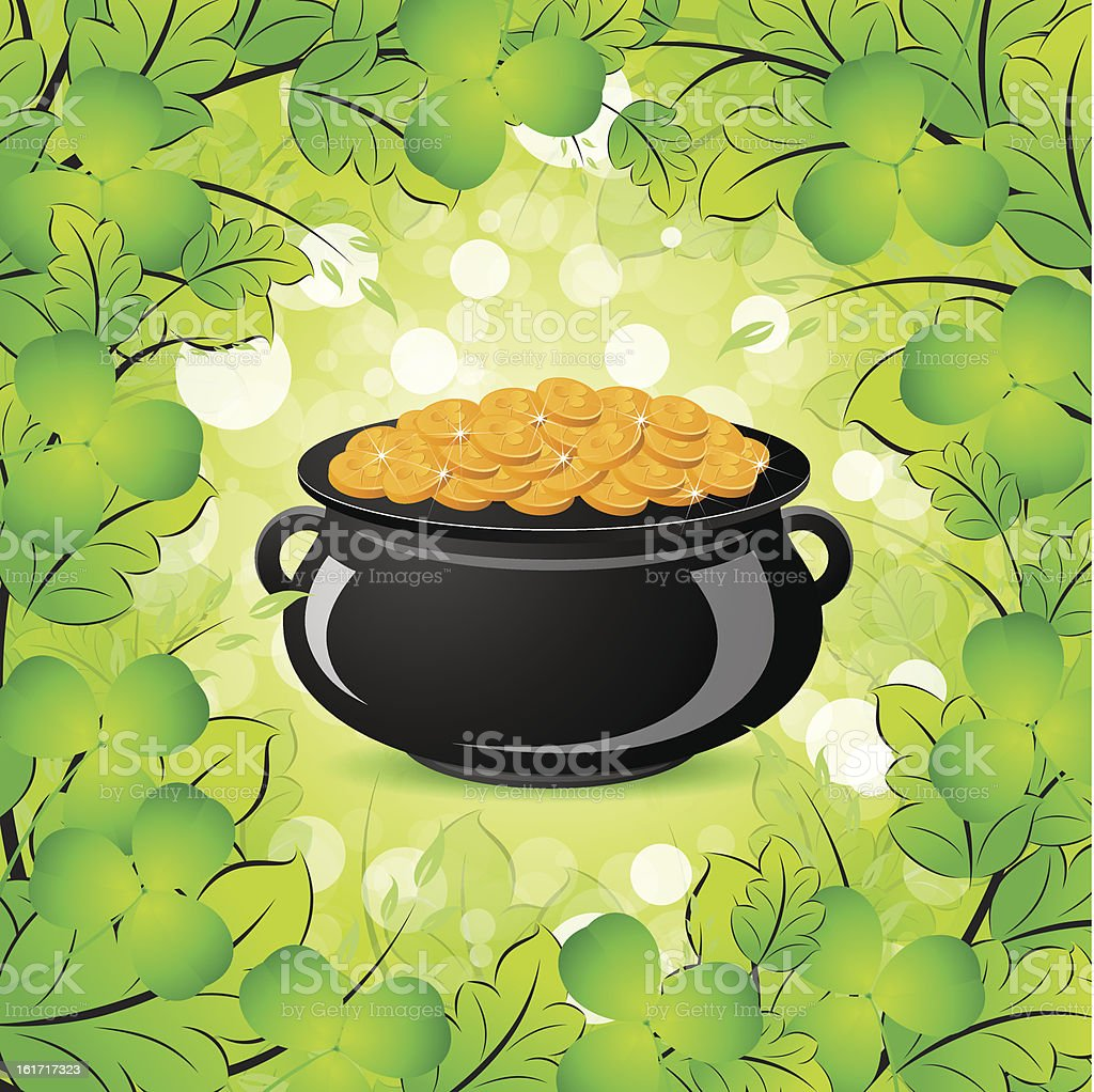 St. Patricks Day Cauldron with Gold Coins royalty-free stock vector art