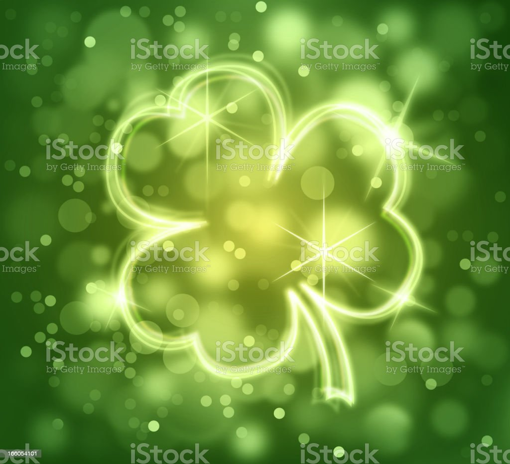 St Patrick's Day Clove Leaf on Bright Flashy Background royalty-free stock vector art