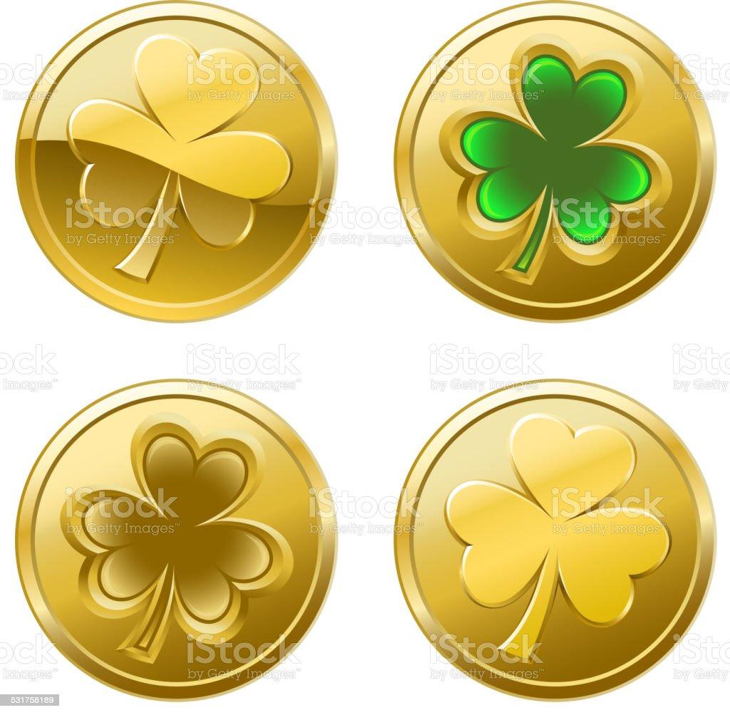 St Patrick's Day Clover Coins vector art illustration