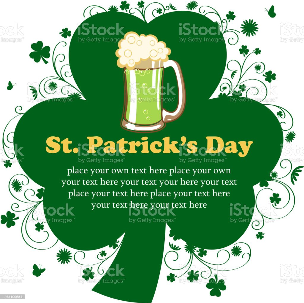 St Patrick's Day Clover Leaf Notice vector art illustration