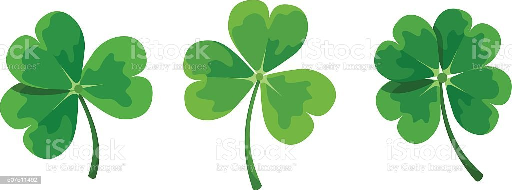 St. Patrick's day clovers (shamrock). Vector illustration.