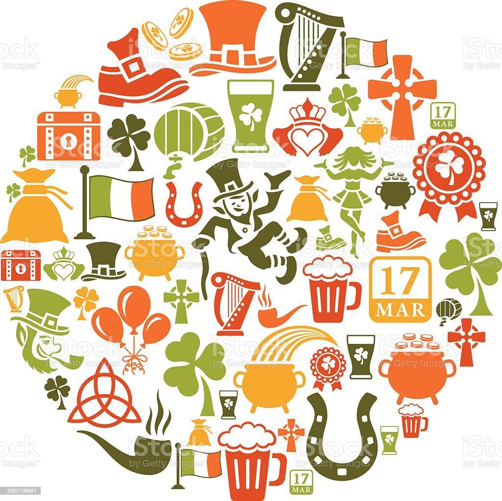 St. Patrick's Day Collage vector art illustration