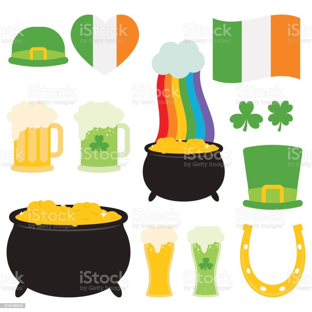 St. Patrick's Day Collection In White Background vector art illustration