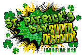 St. Patrick's Day comic book themed fashion sale social media post design or sale poster template. Vector illustration. Retro Cartoon Popup Style.