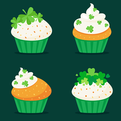 St. Patrick's Day cupcakes. Vector illustration