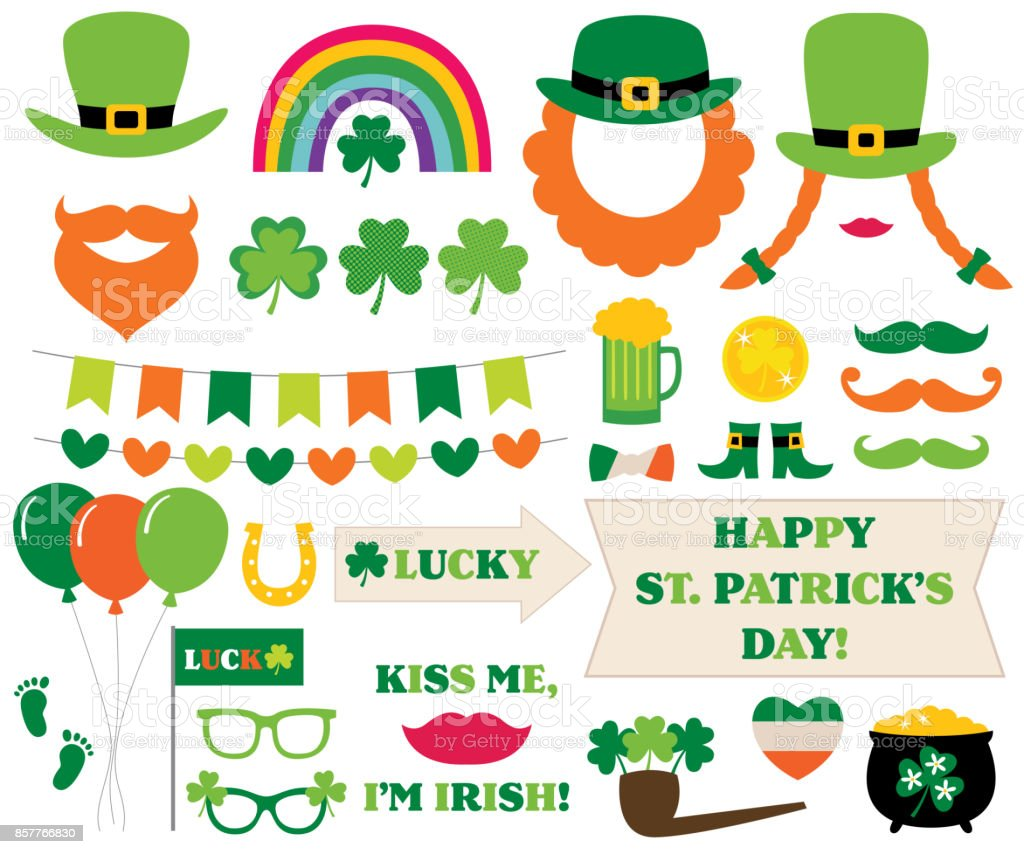 St. Patricks Day decoration and photo booth props vector art illustration