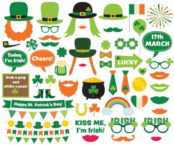 St. Patricks Day design elements and photo booth props vector art illustration