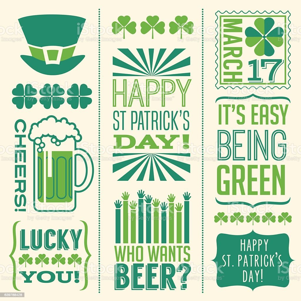 St. Patrick's Day design elements for banners, greeting cards, invitations vector art illustration