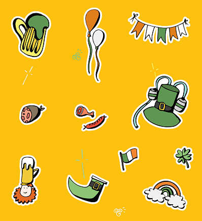 St. Patrick's Day Doodle Icons - Handmade Saint Patrick's Day Icon Pack