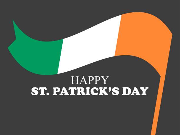 St. Patricks Day. Festliches Banner mit irischer Flagge auf schwarzem Hintergrund. Vektorabbildung – Vektorgrafik
