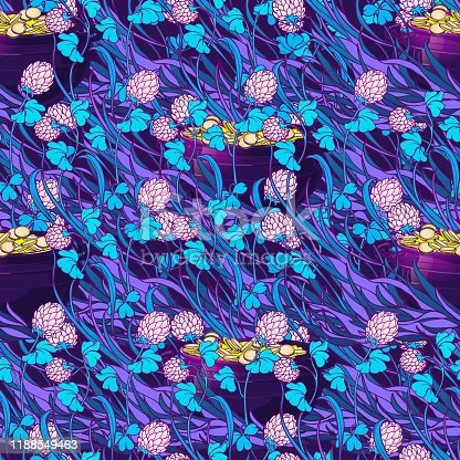 St. Patrick's day festive seamless pattern. Unusual psychodelic turquoise purple gamma. Leprechaun's pot with golden coins hidden among white clover flowers. PEPS10 vector illustration.