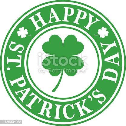 St Patricks Day Four Leaf Clover Label