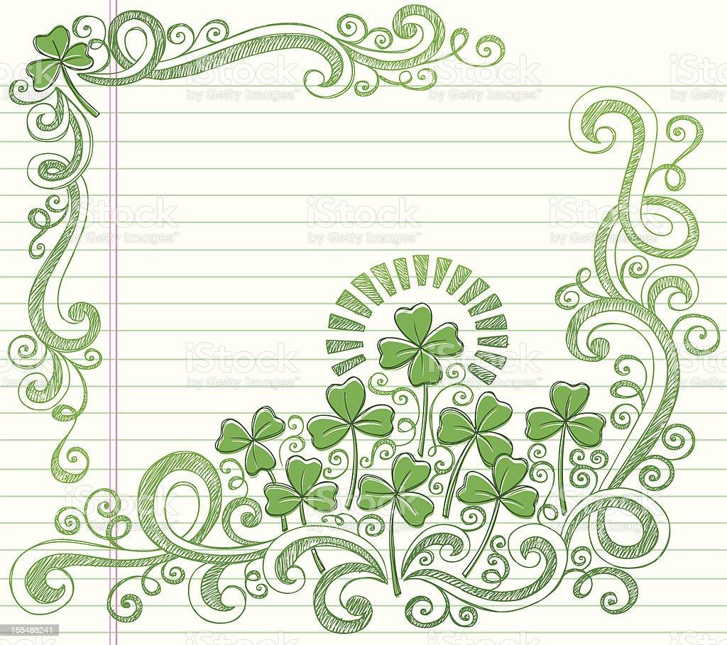 St Patricks Day Four Leaf Clover Sketchy Doodles Vector vector art illustration