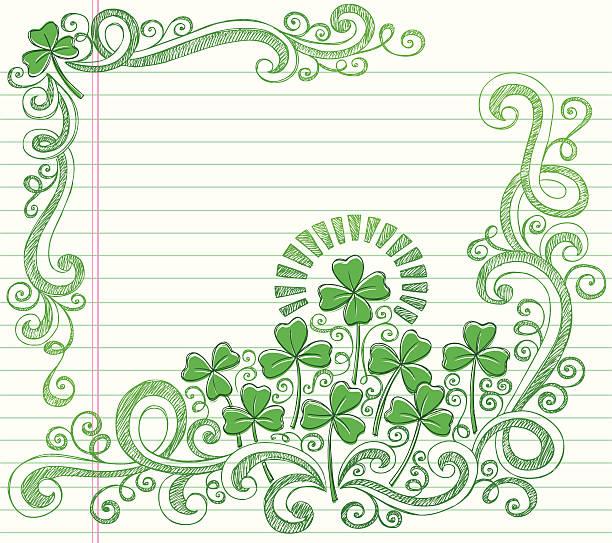 St Patricks Day Vierblättriges Kleeblatt Skizzenhafte Kritzeleien Vektor – Vektorgrafik