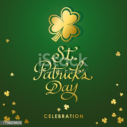 St. Patrick's Day golden clover in green background.